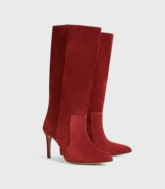 Reiss Lily - Suede Point Toe Boots in Rust