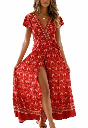 PRETTYGARDEN Womens Summer V Neck Wrap Vintage Floral Print Short Sleeve Split Belted Flowy Boho Beach Long Dress - - Small