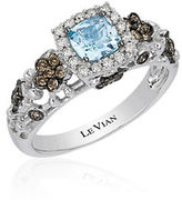 LeVian Chocolatier Sea Blue Aquamarine, Vanilla and Chocolate Diamond Ring