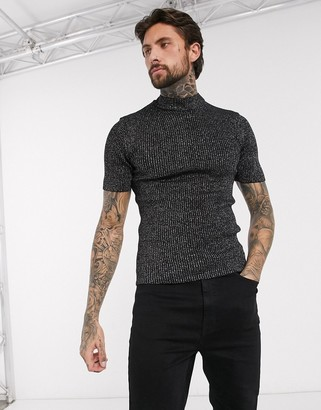 ASOS DESIGN muscle fit knitted rib turtle neck t-shirt in silver and black twist