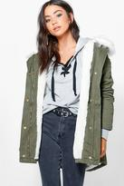 Boohoo Olivia Boutique Faux Fur Lined Parka