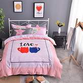 EsyDream Valentine's Day Gift Lover Cat Cup Pattern Princess Duvet Cover,100% Cotton Queen Twin Size Lover Cat Girls Bedlinen Sets,Color 1 Full/Queen Size (4PC/Set)