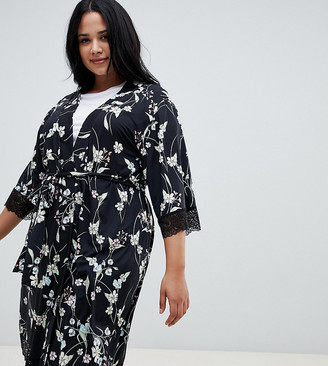 City Chic Alexandra Short Wrap Kimono-Black