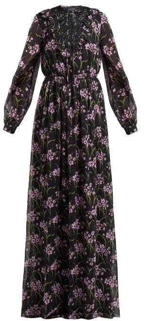Giambattista Valli Floral Print Silk Georgette Gown - Womens - Black Multi