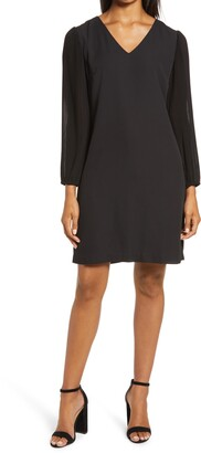 Sam Edelman Pleated Long Sleeve V-Neck Shift Dress