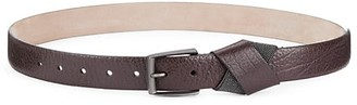 Brunello Cucinelli Hammered Shiny Leather Monili Cross Belt