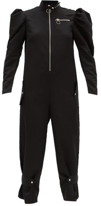 Marques Almeida Puffed-sleeve Recycled-twill Jumpsuit - Black