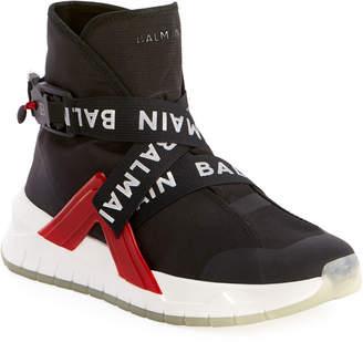 Balmain Men's Troop Strappy High-Top Sneakers