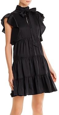 Cinq à Sept Rebecca Ruffled Tie-Neck Mini Dress