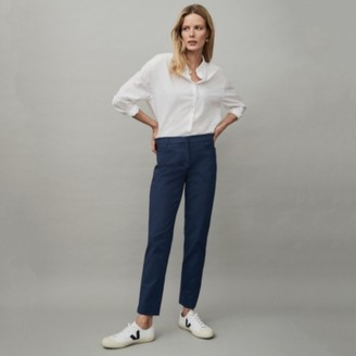 The White Company Cotton Sateen Tapered Trousers, Navy, 6