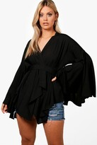 boohoo Plus Extreme Sleeve Wrap Front Tie Top