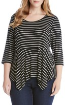 Karen Kane Plus Size Women's Stripe Peplum Top