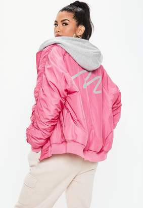 Missguided Pink M Motif Hooded Bomber Jacket