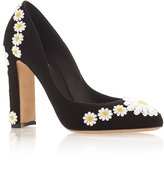 Dolce & Gabbana Wool and Goat Leather Pumps with Daisy Applique