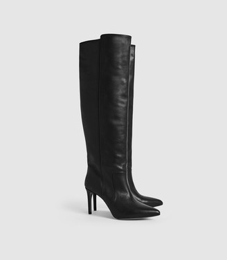 Reiss Zinnia - Leather Point Toe Knee High Boots in Black