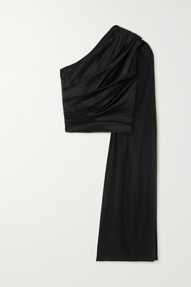 MATÉRIEL One-shoulder Draped Silk-blend Satin Top - Black