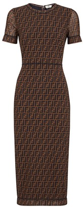 Fendi Allover Logo Net Sheath Dress