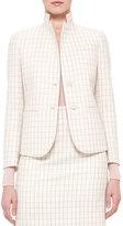 Akris Fairy Plaid Two-Button Jacket, Pelican/Flamingo
