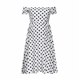 So Buts Maternity Dress SO-buts Women Maternity Mom Dot Print Off Shoulder Loose Casual Party Pregnancy Breastfeeding Chiffon Sexy Dress (White L)
