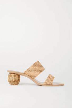 Cult Gaia Jila Woven Raffia Sandals - Beige