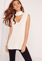 Missguided Choker Neck Chunky Tunic Cream