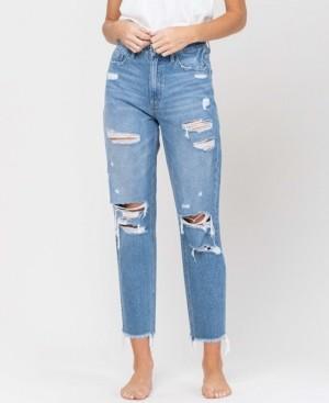 VERVET Women's Distressed Raw Hem Mom Jeans