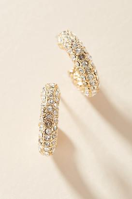 Anthropologie Pave Huggie Hoop Earrings By in Gold