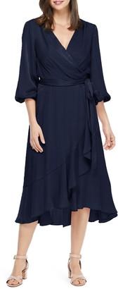 Gal Meets Glam Jennifer Shimmer Satin Wrap Dress