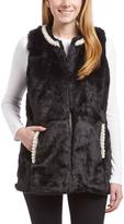Betsey Johnson Black Faux Pearl-Trim Faux Fur Vest