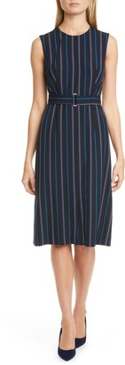 HUGO BOSS Daitala Stripe Belted Sheath Dress