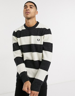 Fred Perry striped crew neck sweater in black and white