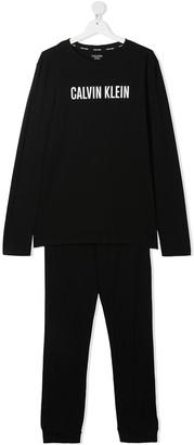 Calvin Klein Kids TEEN logo-print pajama set