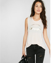 Express one eleven champagne graphic muscle tank