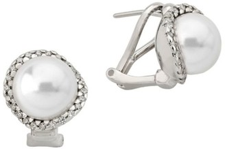Majorica Sterling Silver, 10MM White Pearl & Cubic Zirconia Stud Earrings