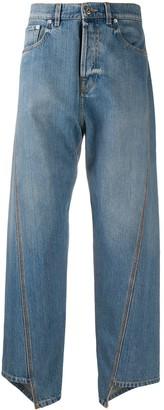 Lanvin Asymmetric Cropped Straight-Leg Jeans