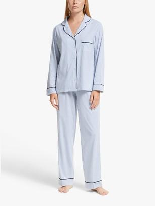 John Lewis & Partners Candi Stripe Jersey Pyjama Set, Blue