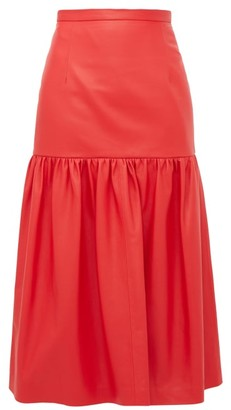 Christopher Kane Gathered Leather Midi Skirt - Womens - Red