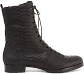 Alexandre Birman Benjamin Lace-up Python Boots - Black