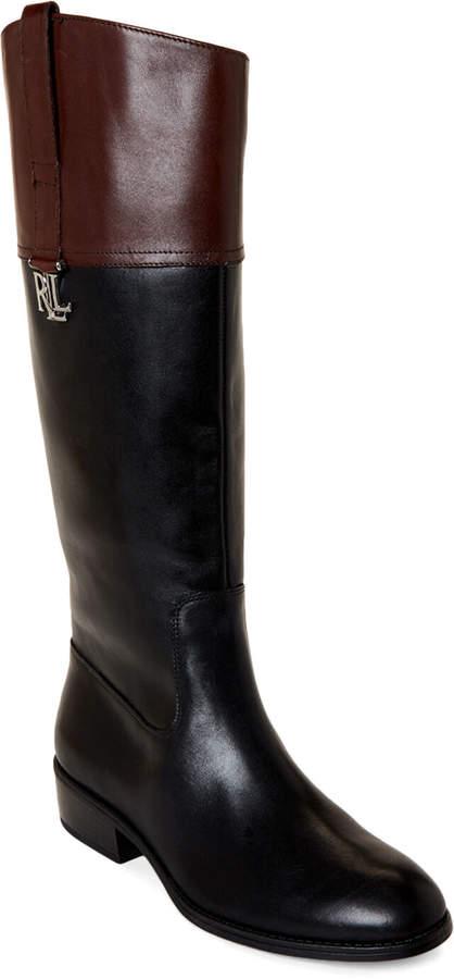 Lauren Ralph Lauren Black & Dark Brown Merrie Leather Riding Boots