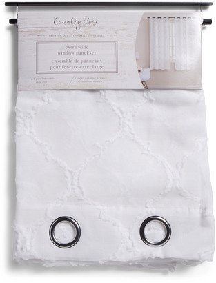 Set Of 2 54x63 Dante Sheer Embroidered Tufted Curtains