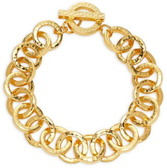 Nest 22K Hammered Goldplated Link Statement Necklace