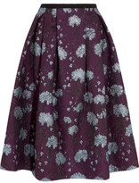 Erdem Imari Metallic Floral-Jacquard Midi Skirt