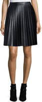MICHAEL Michael Kors Faux-Leather Pleat Skirt, Black