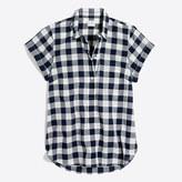 J.Crew Factory Gingham short-sleeve popover shirt