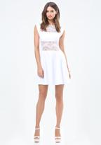 Bebe Lace Panel Midriff Dress
