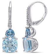 Concerto 0.03TCW Diamond and Blue Topaz Sterling Silver Drop Earrings