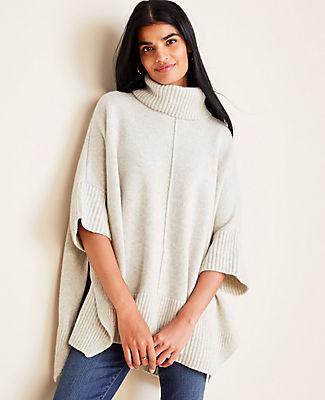 Ann Taylor Cashmere Turtleneck Poncho Sweater