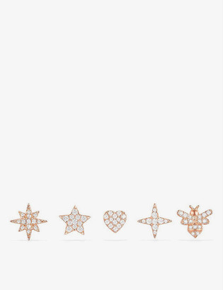 APM Monaco Wonderland pink gold-toned sterling silver stud earrings