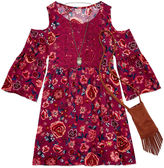 Knitworks Knit Works 3/4 Sleeve Cold Shoulder Sleeve Peasant Dress - Big Kid Girls