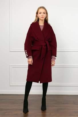 J.ING Baroque Burgundy Wrap Coat